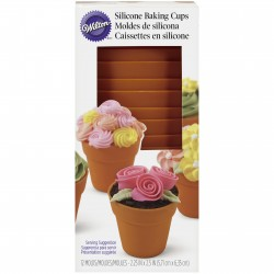 Silikonski pekač/model  Wilton EA 415-4120 Flower Pot Silicone Baking Cups