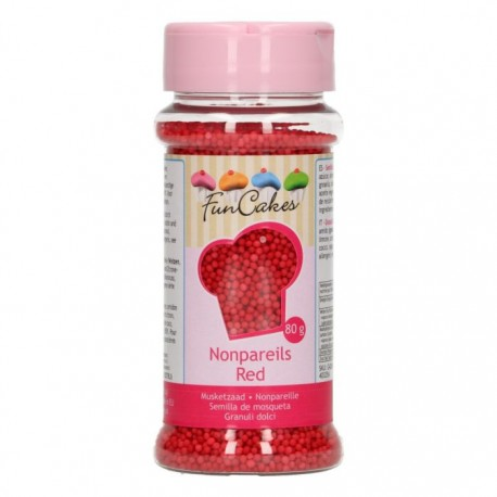 FunCakes Dekorativni posip Nonpareils Red / Rdeče perle 80 g