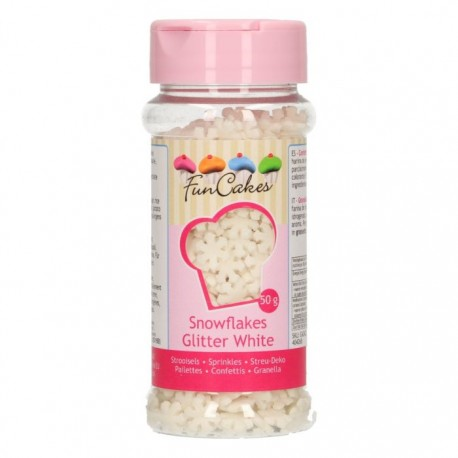FunCakes Dekorativni posip Glitter Snowflakes White / Bele snežinke 50 g
