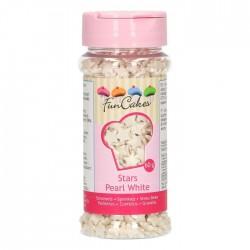 FunCakes Dekorativni posip Stars  Pearl White / Bele zvezdice 55g