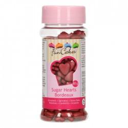 FunCakes Dekorativni posip Sugar Hearts Bordeaux / Bordo srčki 80 g