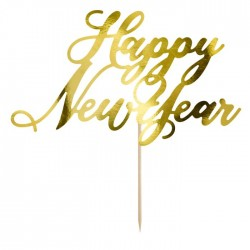 PartyDeco  Cake Topper KPT32-019M Happy New Year - Gold