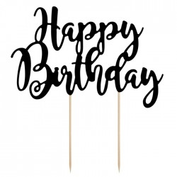 PartyDeco Cake Topper KPT11-010 Happy Birthday Black
