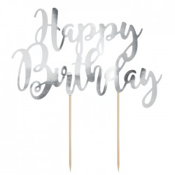 PartyDeco Cake Topper KPT11-018M Happy Birthday Silver