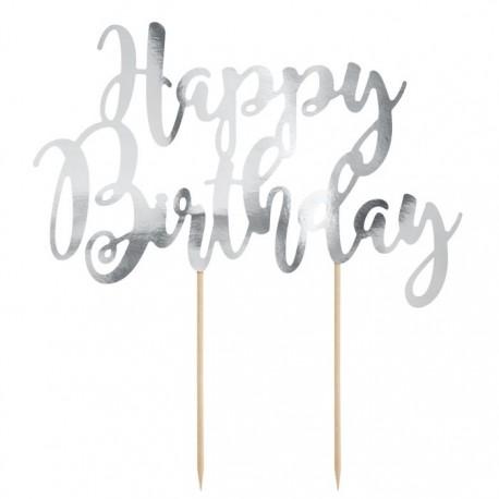 PartyDeco Cake Topper KPT11-018M Happy Birthday Silver