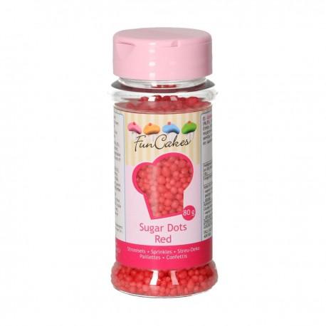 FunCakes G42212 Dekorativni posip Sugar Dots Red 80 g