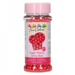 FunCakes Dekorativni posip Sugarpearls 4 mm Shiny Red 80g