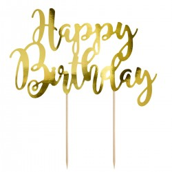 PartyDeco Cake Topper KPT11-019M Happy Birthday Gold