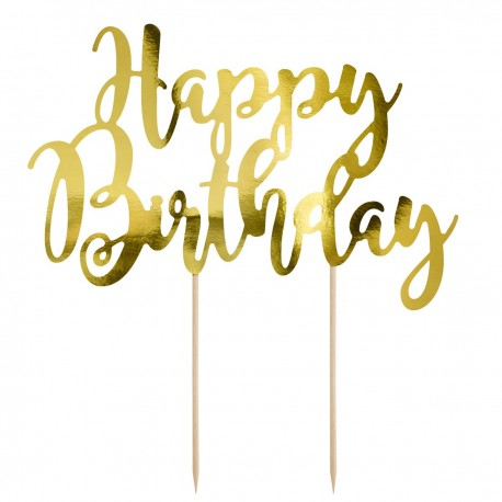 PartyDeco Cake Topper KPT11-019M Happy Birthday Gold