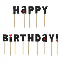 PartyDeco Cake Topper KPM8 Happy Birthday Black Set14kos