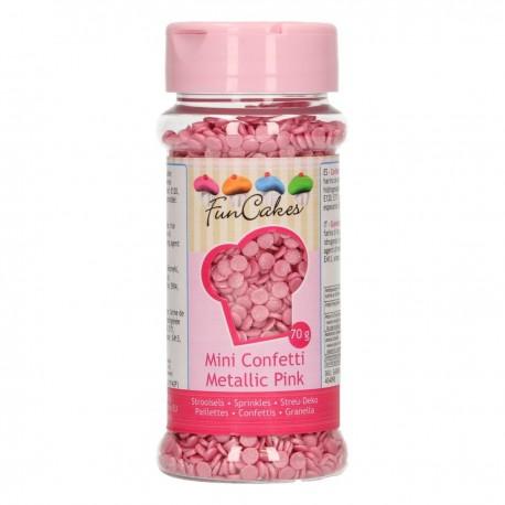 FunCakes G42493 Confetti Metallic Pink 70g