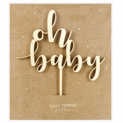 PartyDeco Wooden  KPT51-100 Cake Topper / Leseni Cake Topper Oh Baby