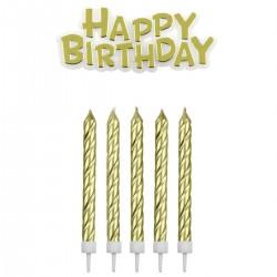 Svečke za torto PME CA092 Happy Birthday Gold 17 kos