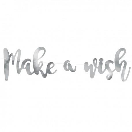 PartyDeco Banner / Girlanda GRL26-018M Make a Wish Silver