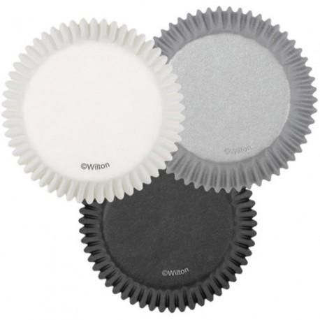 Papirčki za peko muffinov 415-0374  White/Black/Silver 75 kos